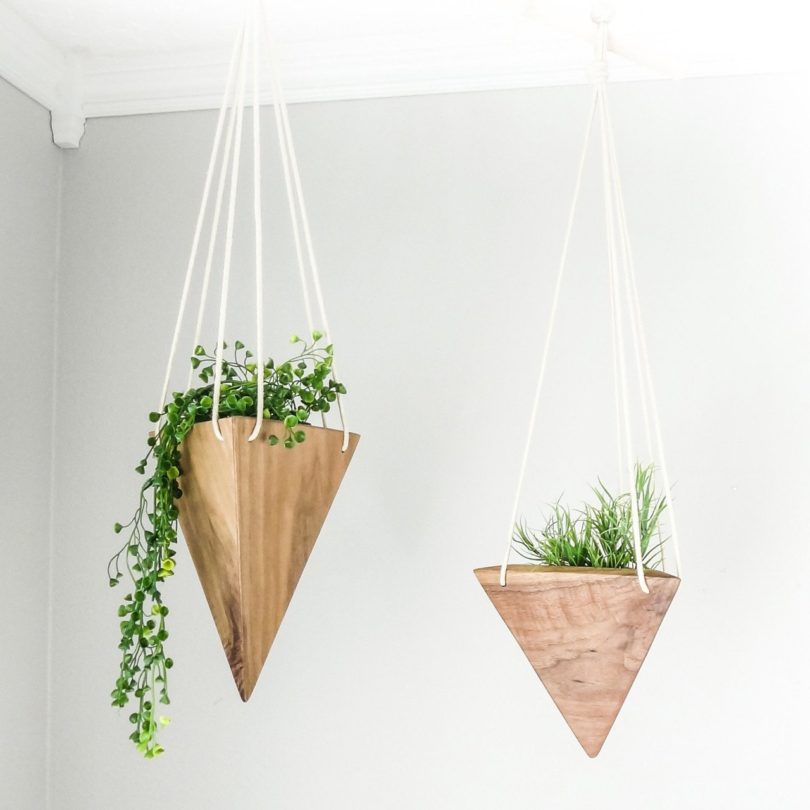 Geometric Walnut Hanging Planter
