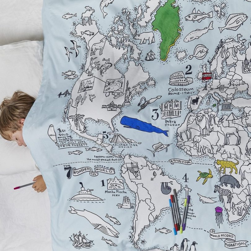 Color and Learn World Map Duvet Cover