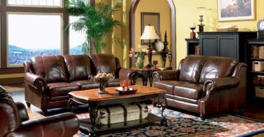 Inland Empire Furniture Rahman Cognac Tri Tone Leather Sofa & Love Seat with Chair