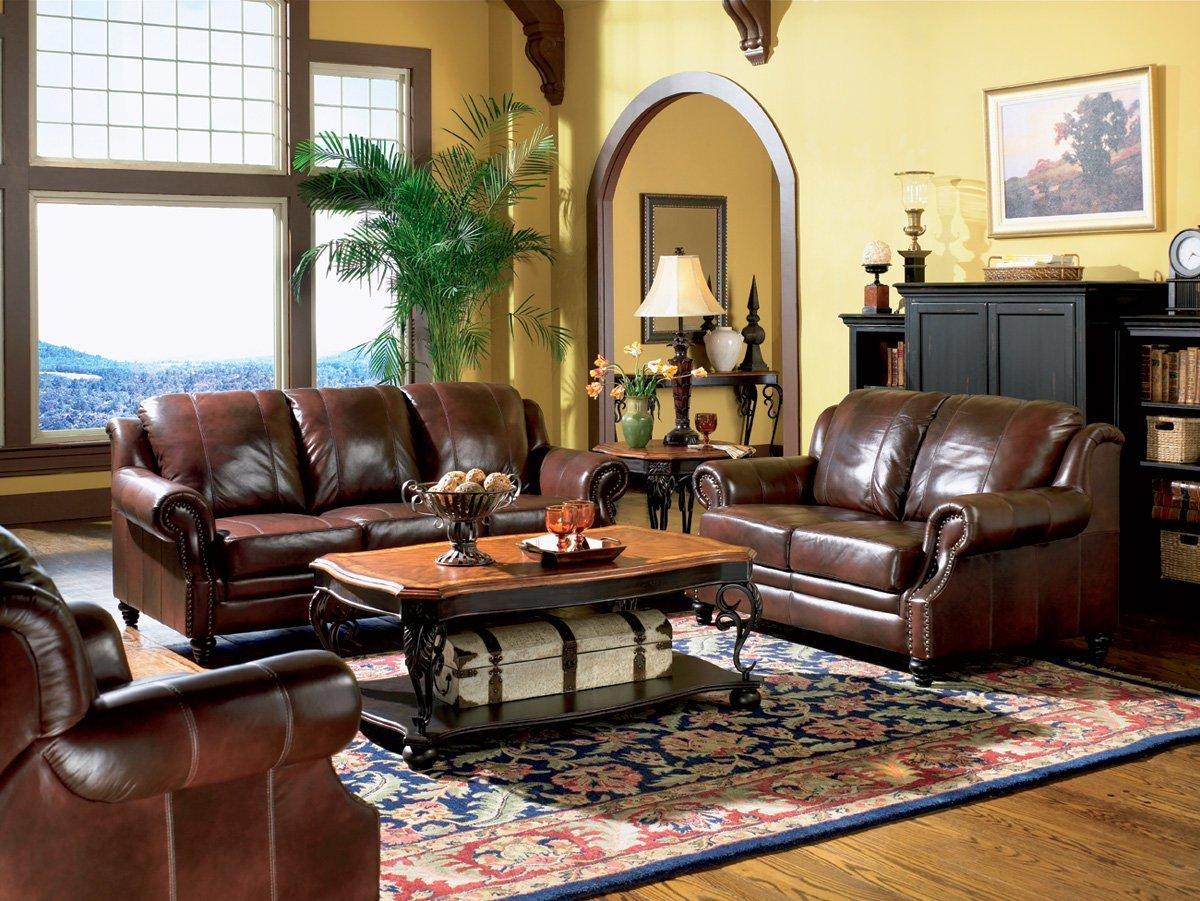 Inland Empire Furniture Rahman Cognac Tri Tone Leather Sofa & Love Seat with Chair