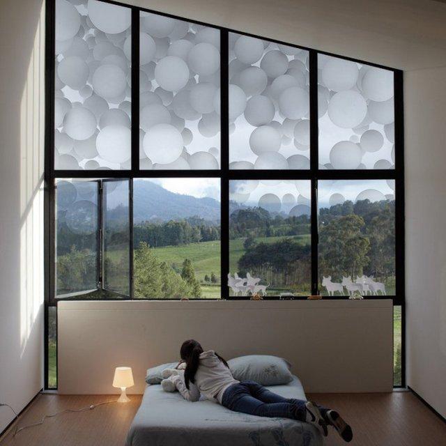 White Floating Balls Window Film
