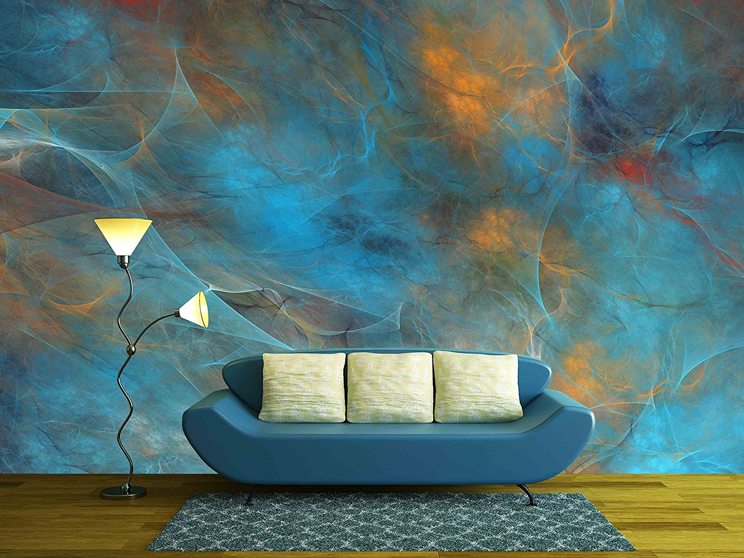 Abstract Shapes Made Of Fractal Textures Wall Mural