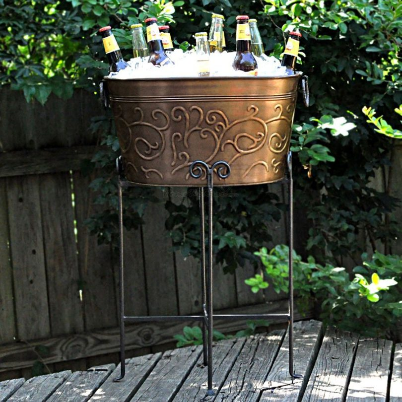 Large 18″ Galvanized Antiqued Vine Oval Party Tub