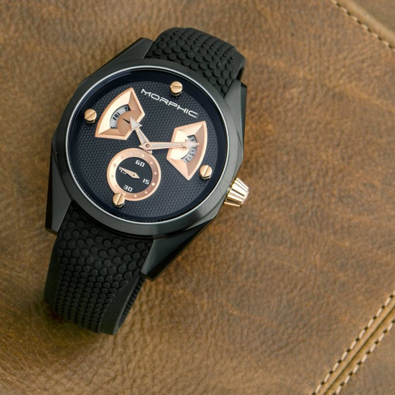 Morphic M34 Series Day/Date Dial Engraved Pattern Strap Watch
