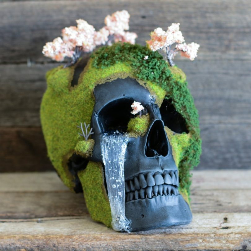 Cherry Blossom Mountain Bonsai Skull