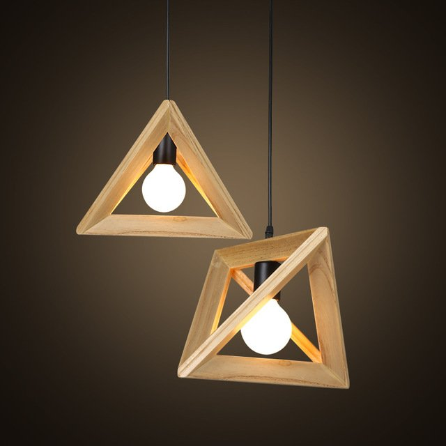 Geometric Wooden Pendant Lights