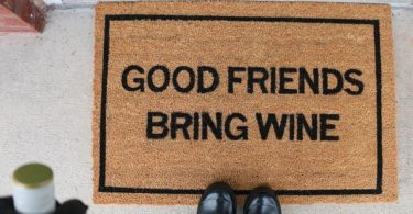 Good Friends Bring Wine Doormat