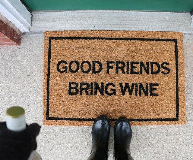 Good Friends Bring Wine Doormat