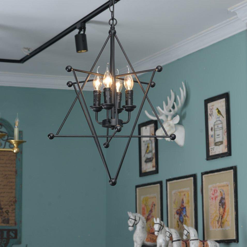 Black Vintage 8-Point Star Chandelier