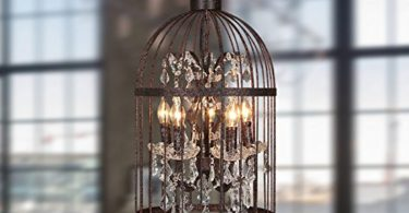 Rural Industries Wind Iron Crystal Chandeliers Birdcage