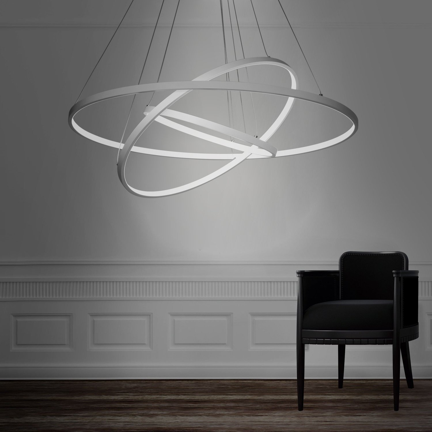 Modern 3 rings large led pendant light petagadget for Luminaire suspension sejour