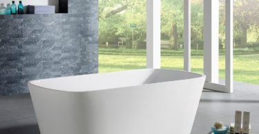 MAYKKE Canaveral 67 Inches Modern Rectangle Light Acrylic Bathtub