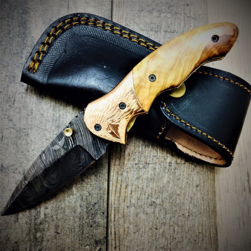 HTS-60c Damascus Folder with Copper Bolster & Engraved Bird