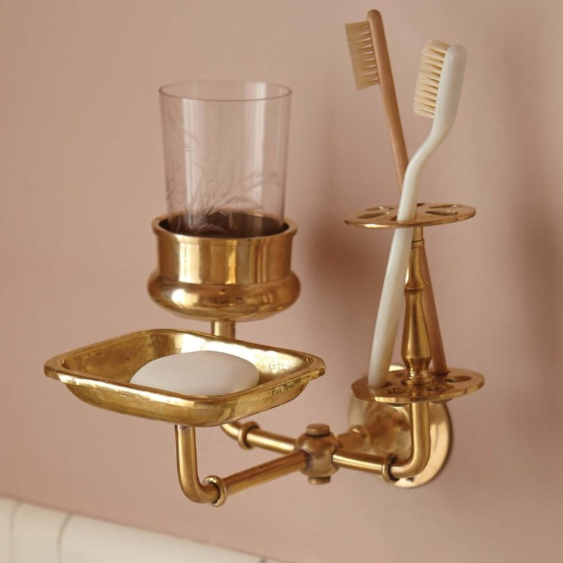 Solid Brass Bath Trio Wall Hanger by Sir/Madam