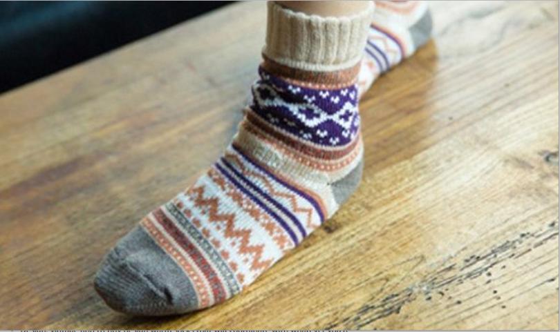 Vintage Style Winter Knitting Warm Wool Crew Socks