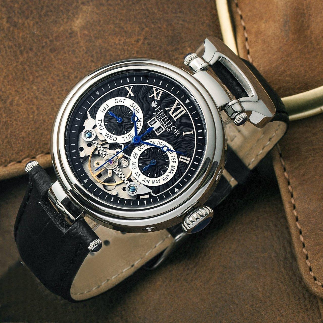 Heritor Automatic Ganzi Semi-Skeleton Leather-Band Day Date Watch