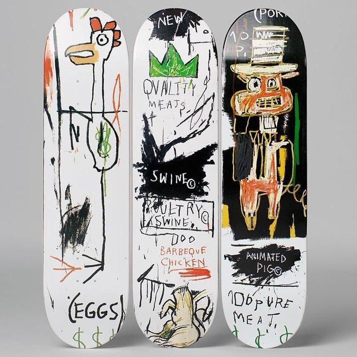 Jean-Michel Basquiat: Skateboard Triptych Quality Meats for the Public