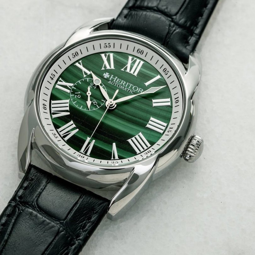 Heritor Automatic Marcus Marble Dial Leather-Band Watch