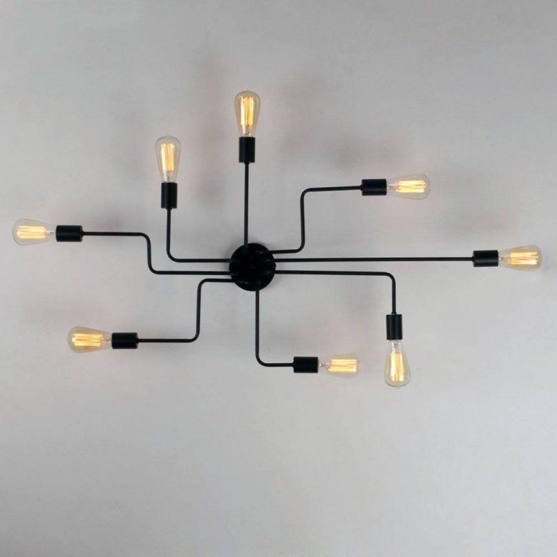 Black Metal Steel Art Flush Mount Ceiling light with 8 Lights