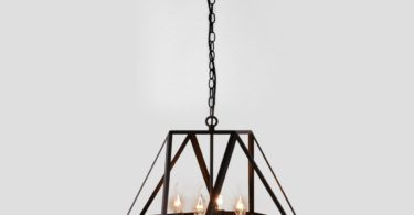Antique Black Metal Hanging Lantern Candle Chandelier
