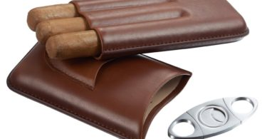 Visol Legend Genuine Brown Leather Cigar Case with Cutter