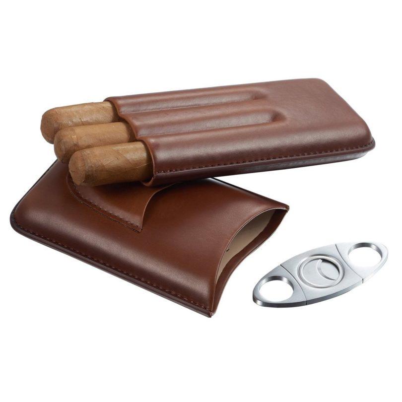 Visol Legend Genuine Brown Leather Cigar Case with Cutter