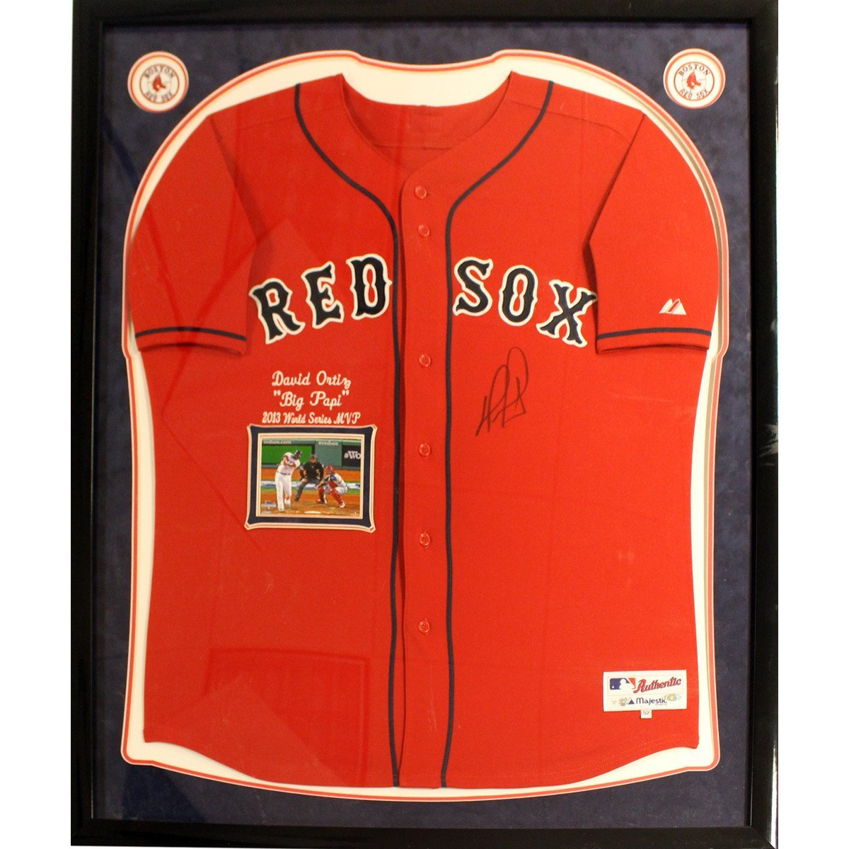 David Ortiz Elite Framed Signed Authentic Red Sox Alternate Jersey