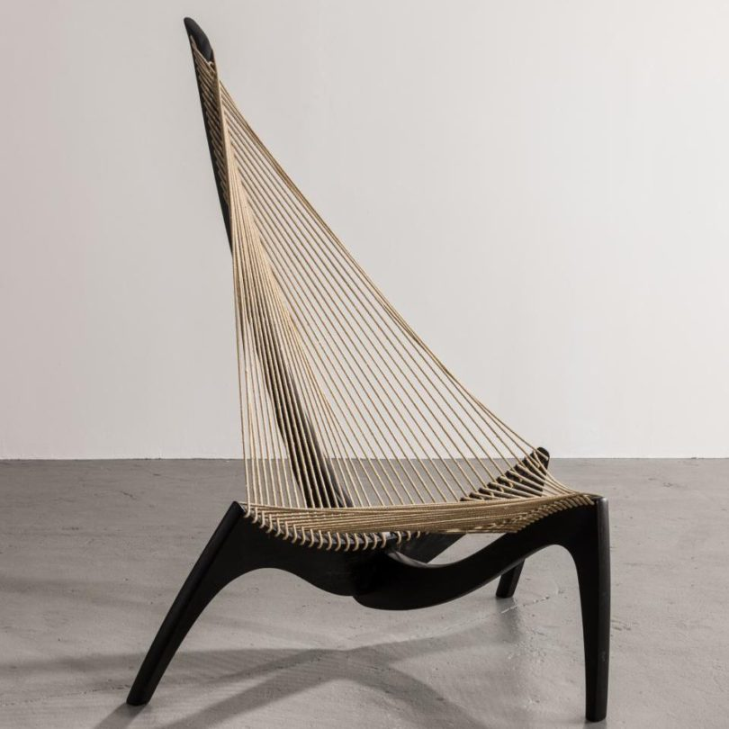 Stained Ash Harp Chair by Jørgen Høvelskov for Christensen & Larsen Mö…