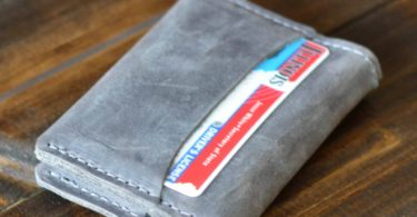 Rock Gray Leather Minimalist Card Wallet