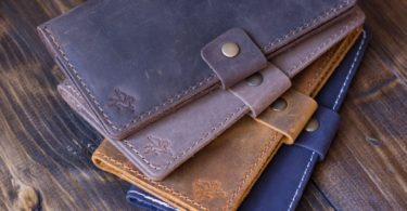 Distressed Leather Checkbook Cover by Pegai