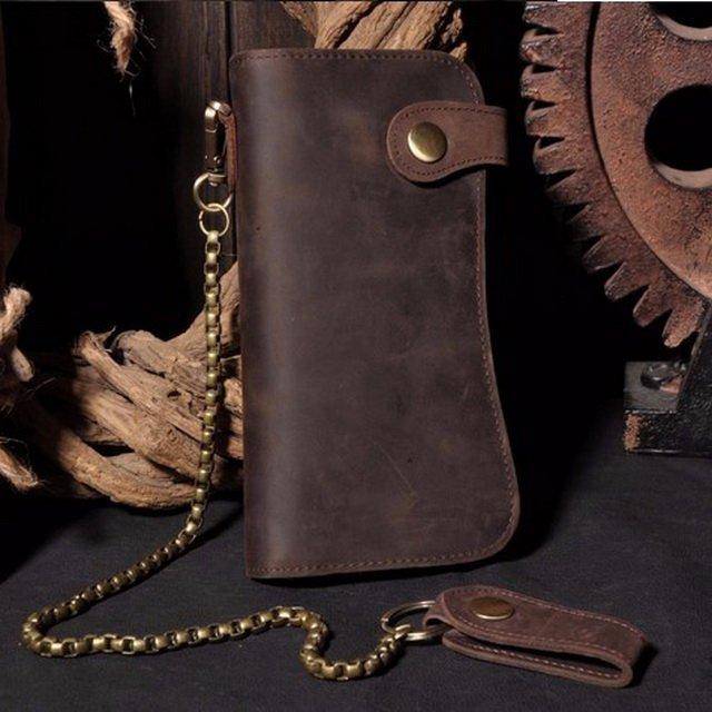 Genuine Crazy Horse Vintage Leather Chain Wallet