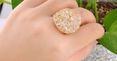 Gold Plated Wire Mesh Crystal Ring