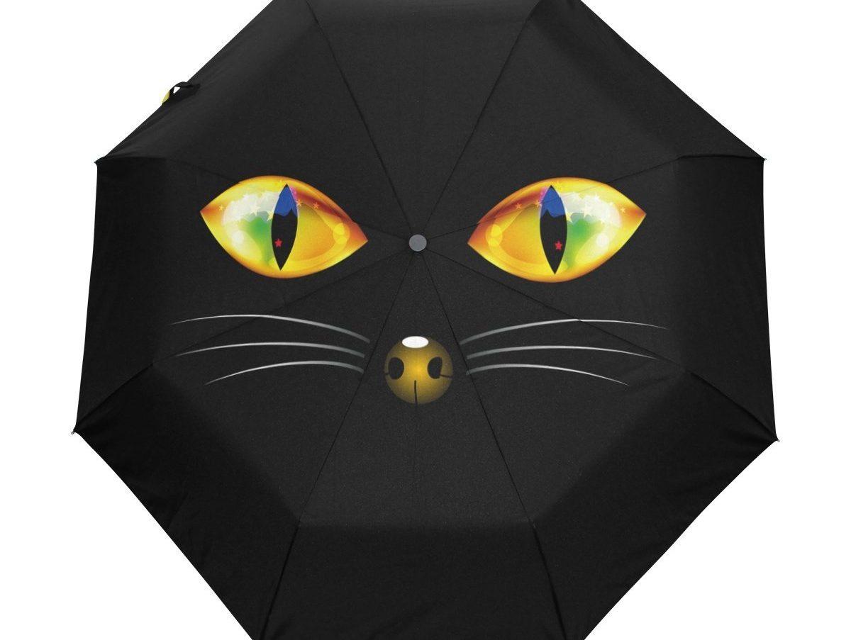 Yochoice Hipster Halloween Black Cat Umbrella