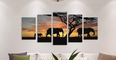 Elephants Walking HD Print Set