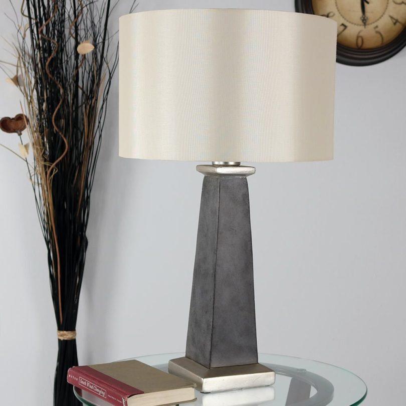 Sunnydaze Indoor/Outdoor Modern Concrete Pillar Table Lamp