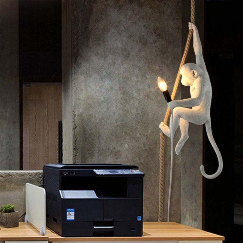 White Monkey Ceiling Lamp