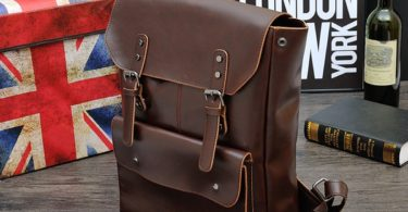 Crazy Horse PU Leather Backpack School Bag Laptop Bag