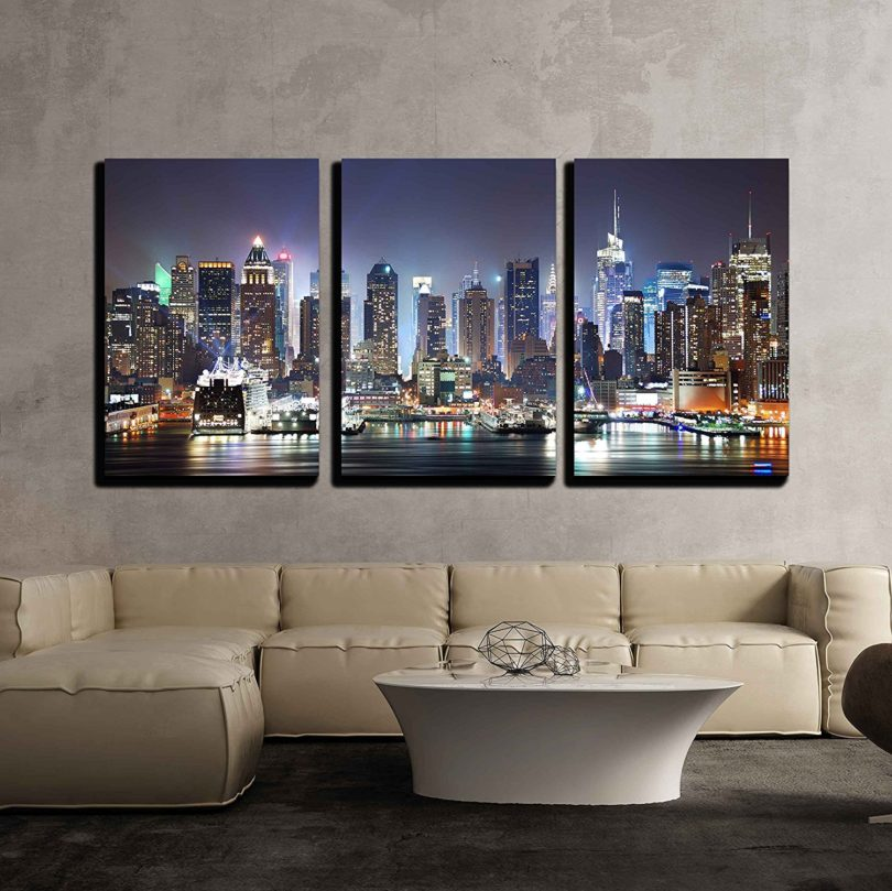 New York City Manhattan Skyline Panorama at Night