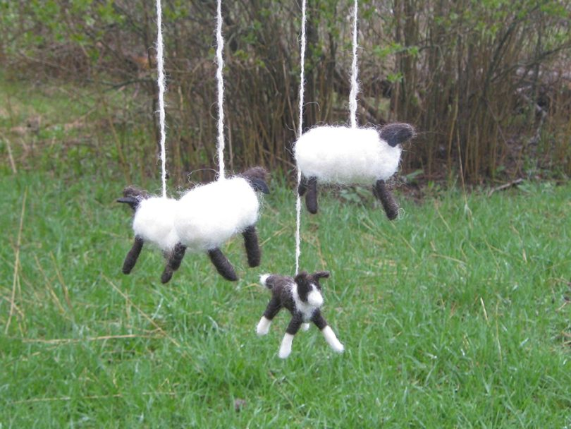 Felted Border Collie and Sheep Baby Mobile