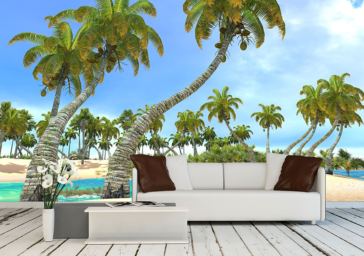 Tropical Paradise Beach – Removable Wall Mural