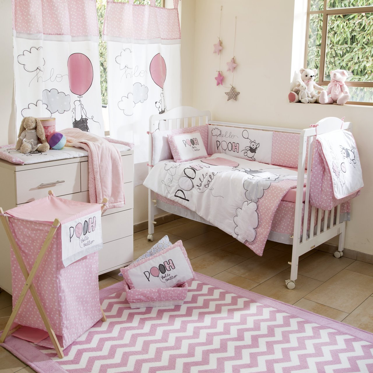 Disney Pink Winnie The Pooh Play Crib Bedding Set