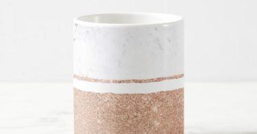 Zazzle Faux Rose Gold Glitter Black White Marble Stripes Coffee Mug