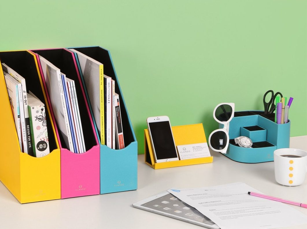 VPACK 7 Storage Compartments Multifunctional PU Leather Desk Organizer