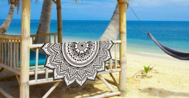 Madhu International Cotton White Black Mandala Round Yoga Mat