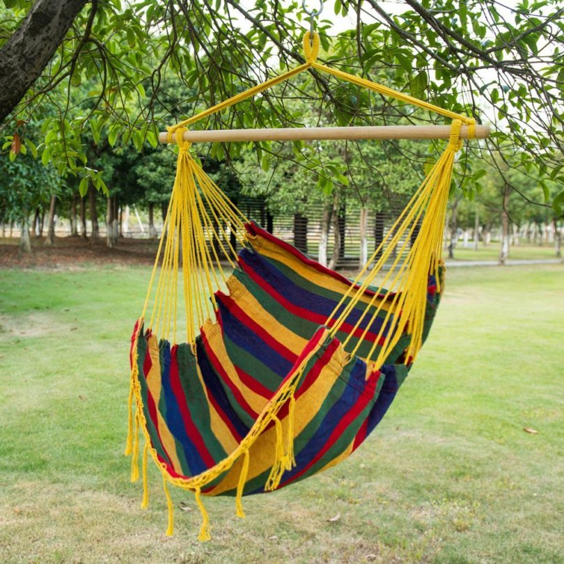 Sundale Outdoor Canvas Hanging Hammock Swing Chair Seat