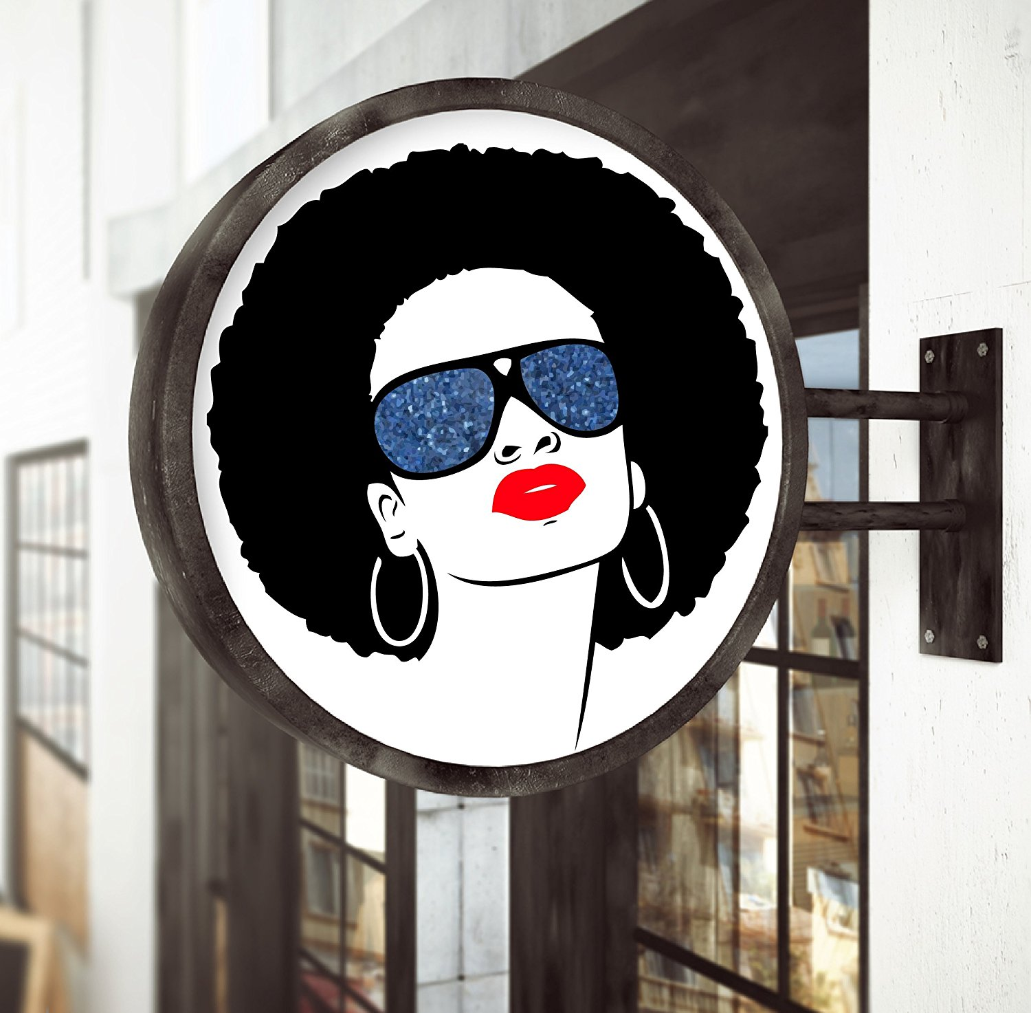 Removable Beautiful African Woman with Afro and Sunglasses Vinyl Decal 23″ X 23″