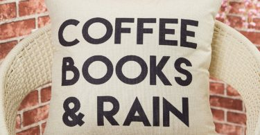 Coffee, Books and Rain Pillow