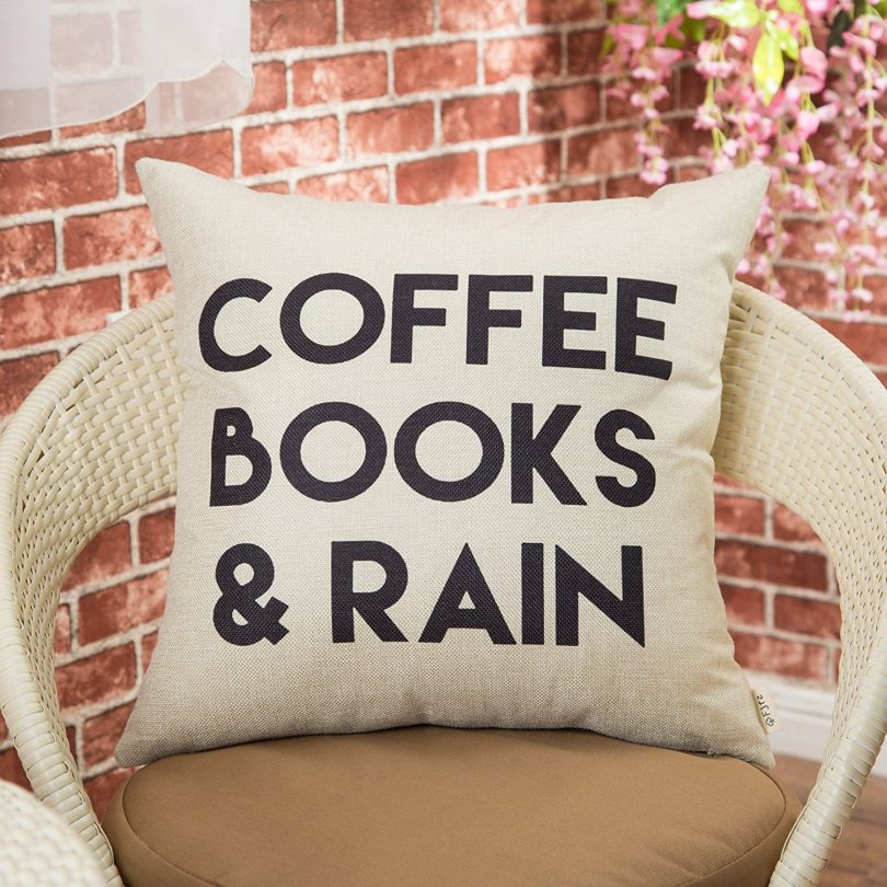Coffee, Books and Rain Pillow