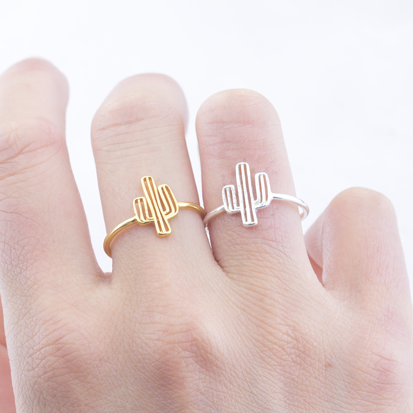 Fashion Jewelry Cacti Tree Ring Hollow Tree Geometric Finger Cactus Ring for Women and Girls