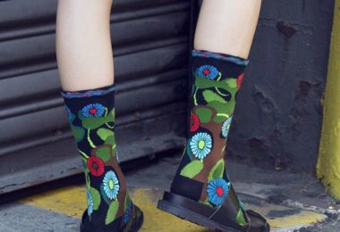 Black Flower Camo Sock by Ozone Design